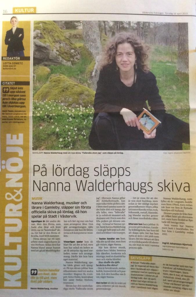 """Västervikstidningen inför släppet av """"Falleralla utom jag"""""""