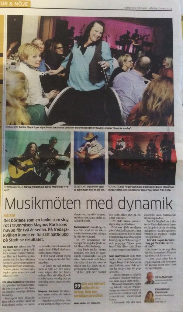"""Västervikstidningens reportage  från """"Det blir bättre såhär"""" en kväll med Magnus Ugglas och Madonnas låtar i våra egna arr."""