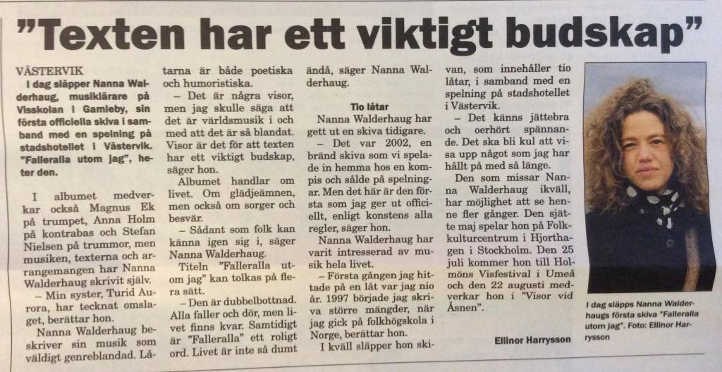 """Västerviksposten inför släppet av """"Falleralla utom jag"""""""