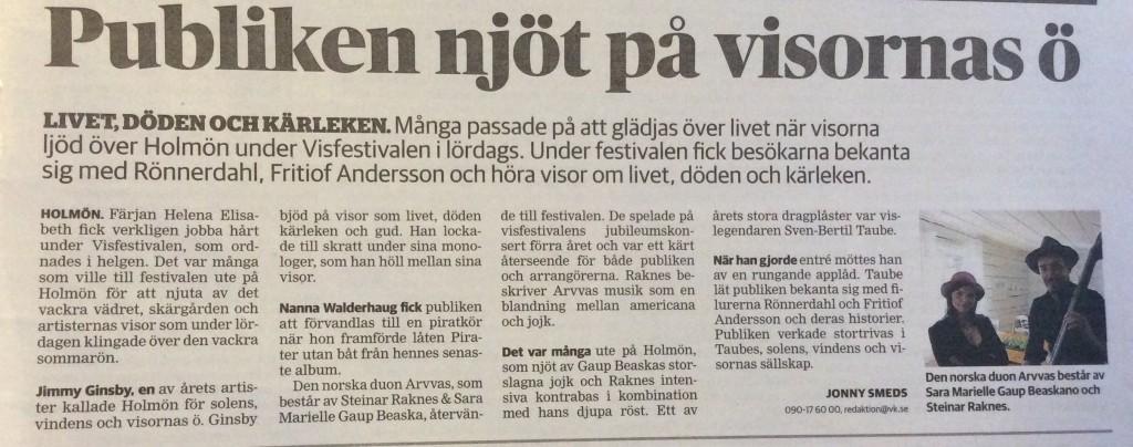 Västerbottenskuriren, reportage från Holmöns visfestival 2015