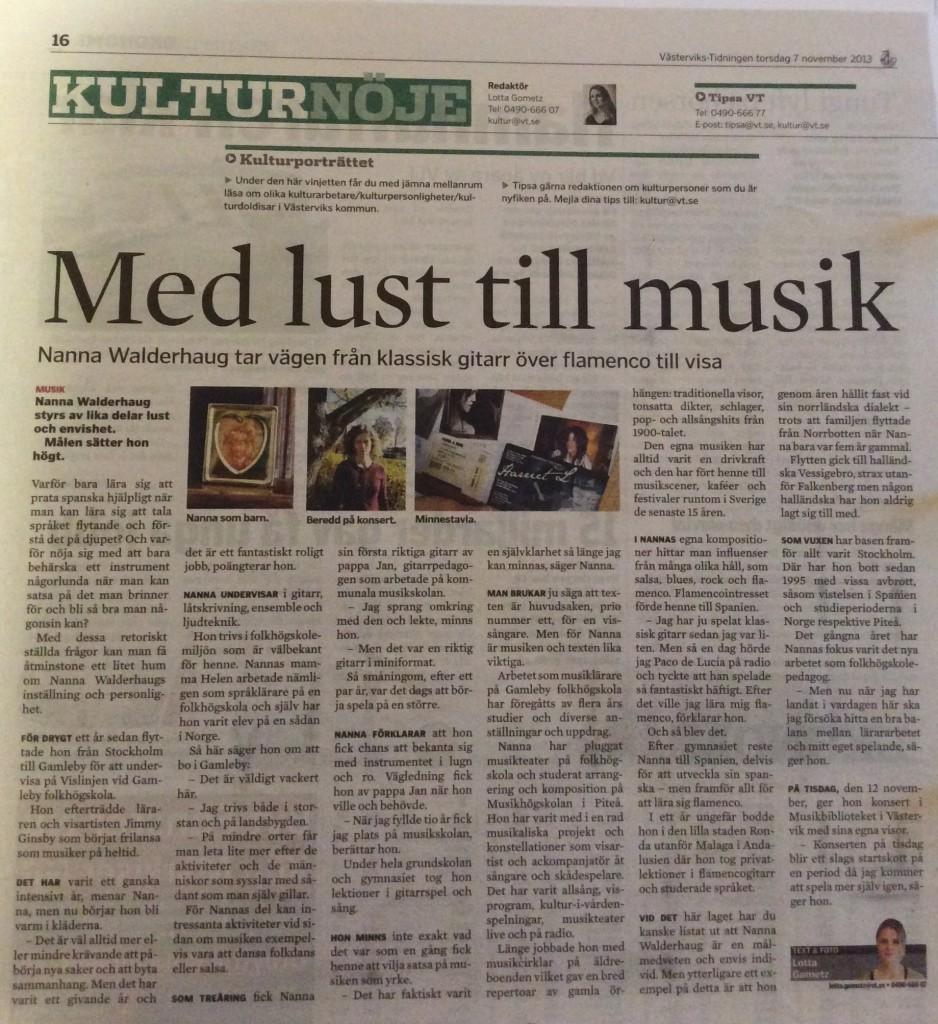 """""""Kulturdoldis""""  i västervikstidningen 2013 sid 1"""