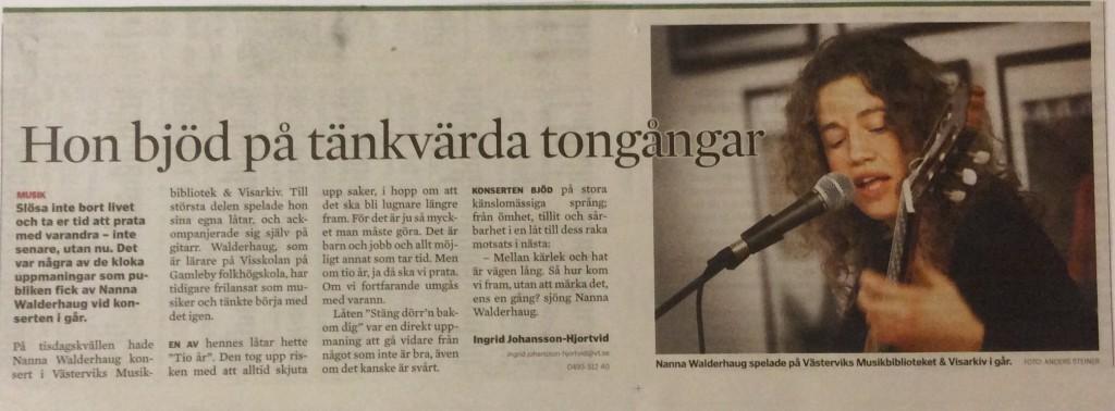 Konsertreportage, Västervikstidningen.