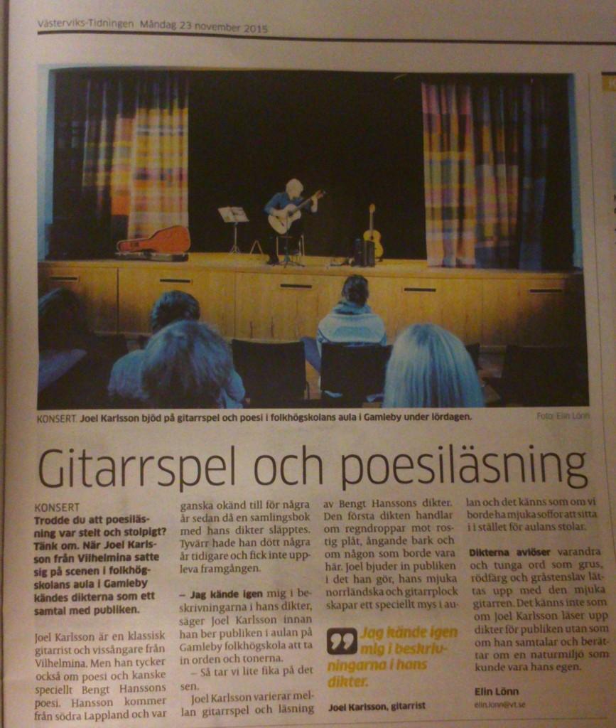 Recension Västervikstidningen 20151123
